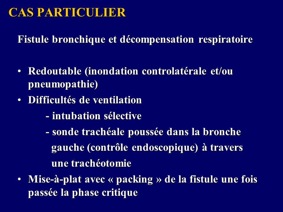 CAS PARTICULIER Fistule bronchique et décompensation respiratoire Redoutable (inondation controlatérale et/ou pneumopathie)Redoutable (inondation controlatérale et/ou pneumopathie) Difficultés de ventilationDifficultés de ventilation - intubation sélective - sonde trachéale poussée dans la bronche gauche (contrôle endoscopique) à travers gauche (contrôle endoscopique) à travers une trachéotomie une trachéotomie Mise-à-plat avec « packing » de la fistule une fois passée la phase critiqueMise-à-plat avec « packing » de la fistule une fois passée la phase critique