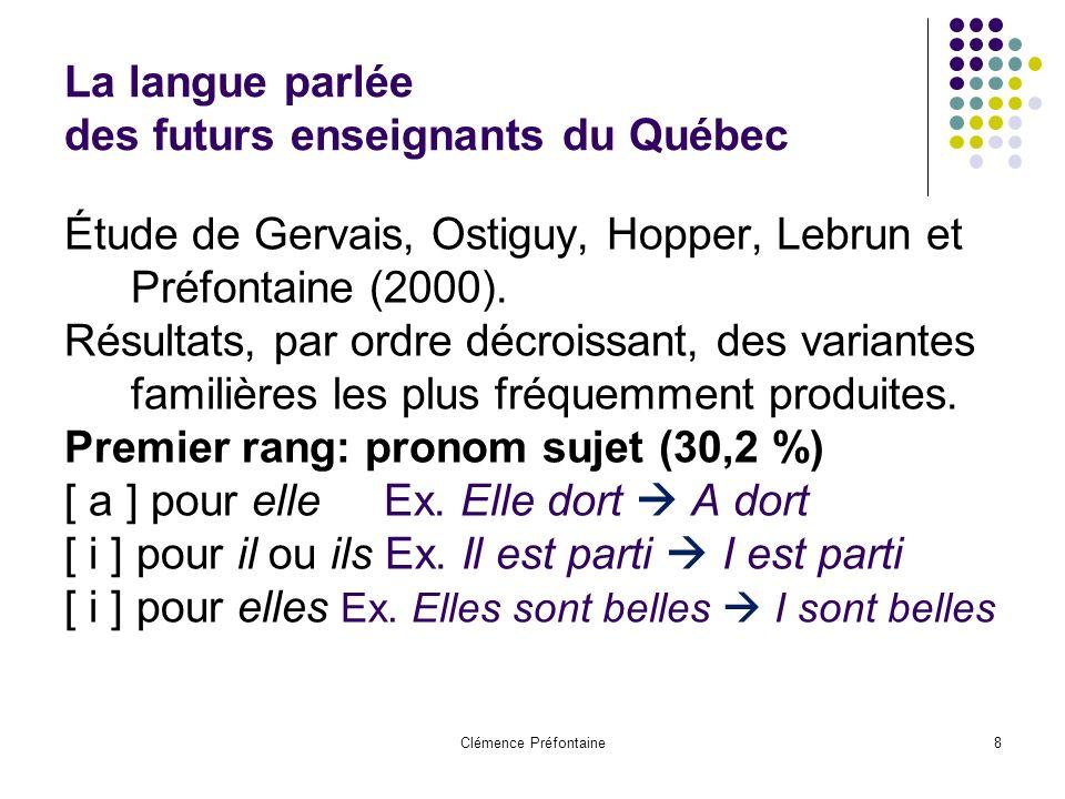 Clémence Préfontaine8 La langue parlée des futurs enseignants du Québec Étude de Gervais, Ostiguy, Hopper, Lebrun et Préfontaine (2000).