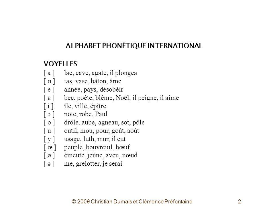 2 ALPHABET PHONÉTIQUE INTERNATIONAL VOYELLES [ a ]lac, cave, agate, il plongea [ ɑ ]tas, vase, bâton, âme [ e ]année, pays, désobéir [ ɛ ]bec, poète,