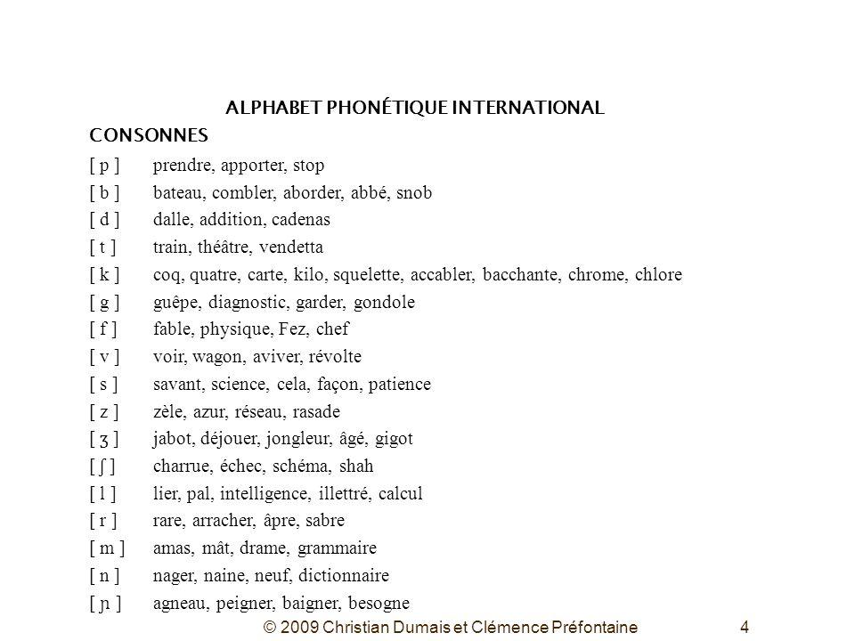 © 2009 Christian Dumais et Clémence Préfontaine4 ALPHABET PHONÉTIQUE INTERNATIONAL CONSONNES [ p ]prendre, apporter, stop [ b ]bateau, combler, aborde