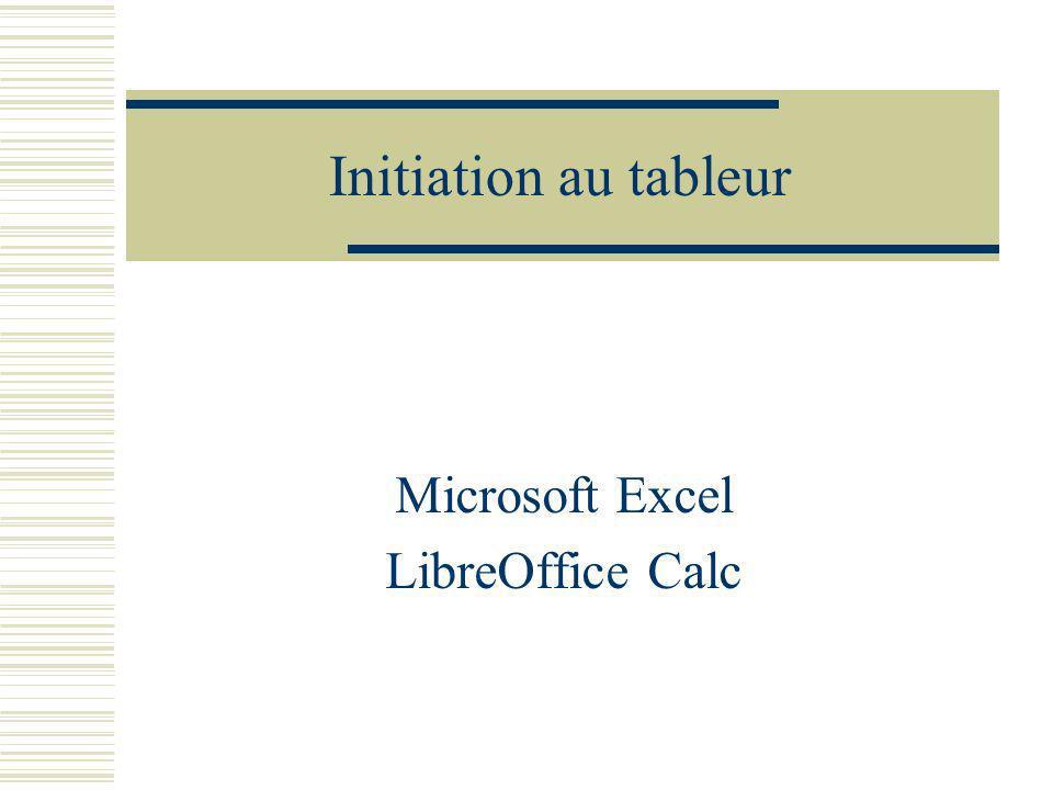 Initiation au tableur Microsoft Excel LibreOffice Calc