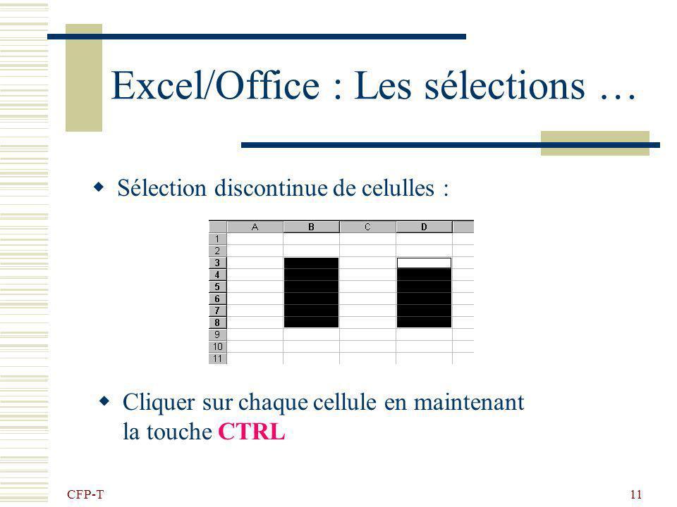 CFP-T 10 Excel/Office : Les sélections … Sélection dune ligne ou dune colonne : Cliquer sur lentête de la ligne ou de la colonne, et glisser pour éten