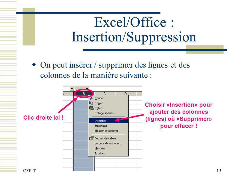 CFP-T 14 Excel/Office : Exercice 3 -Bordures Reproduire le document suivant : Onglet feuil2, double click et renommer ex3 Hauteur des lignes : 46 Larg