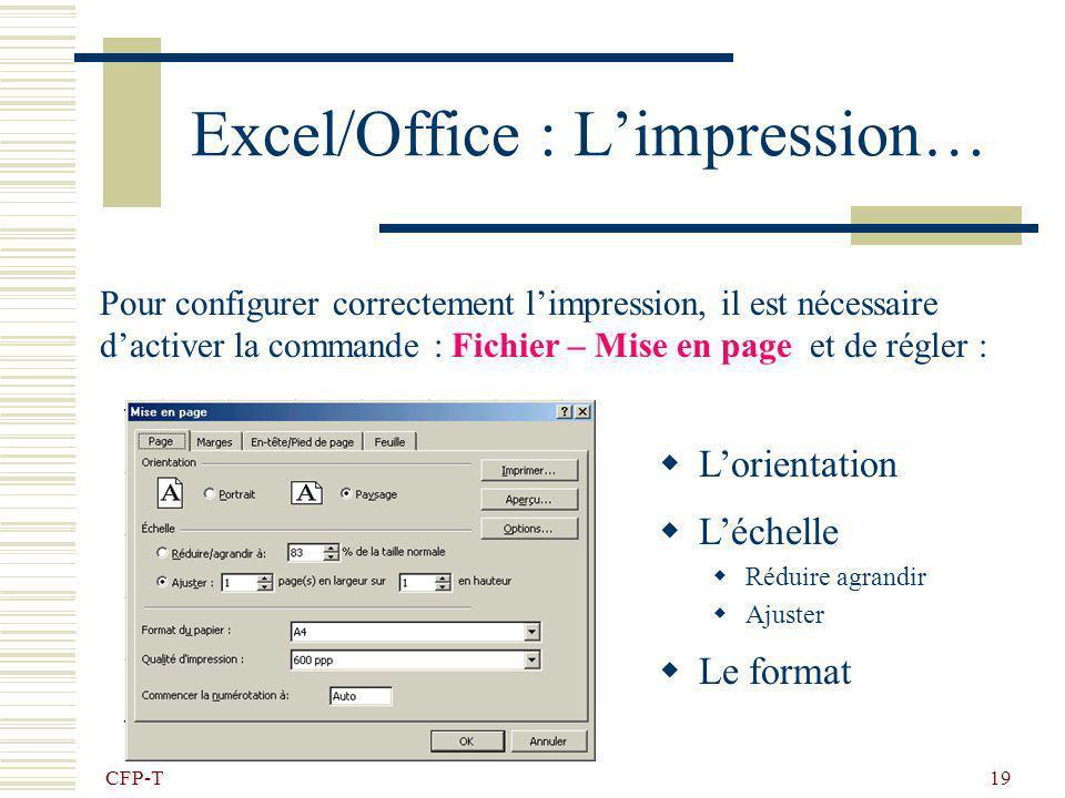 CFP-T 18 Excel/Office : Exercice 5 Reproduire le document suivant : Click droit sur un onglet insérer feuille, double click et renommer ex5 Hauteur de