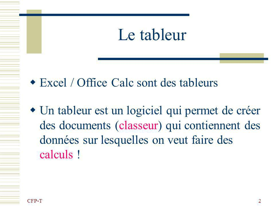Initiation au tableur Microsoft Excel LibreOffice Calc