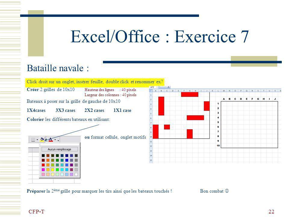 CFP-T 21 Excel/Office : Exercice 6 - impression Effectuer les réglages pour obtenir une impression identique : Nimprimez pas ! Utilisez la commande :