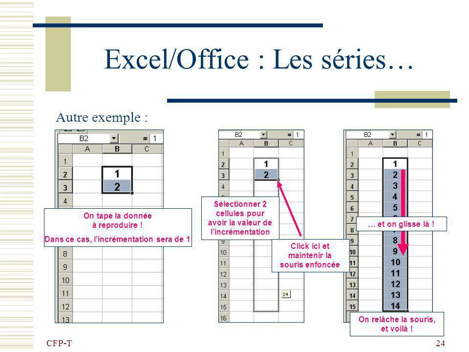 CFP-T 23 Excel/Office : Les séries… Pour facilité la saisie des données, on utilise la fonction «Série…» Voilà un exemple : On tape la donnée à reprod