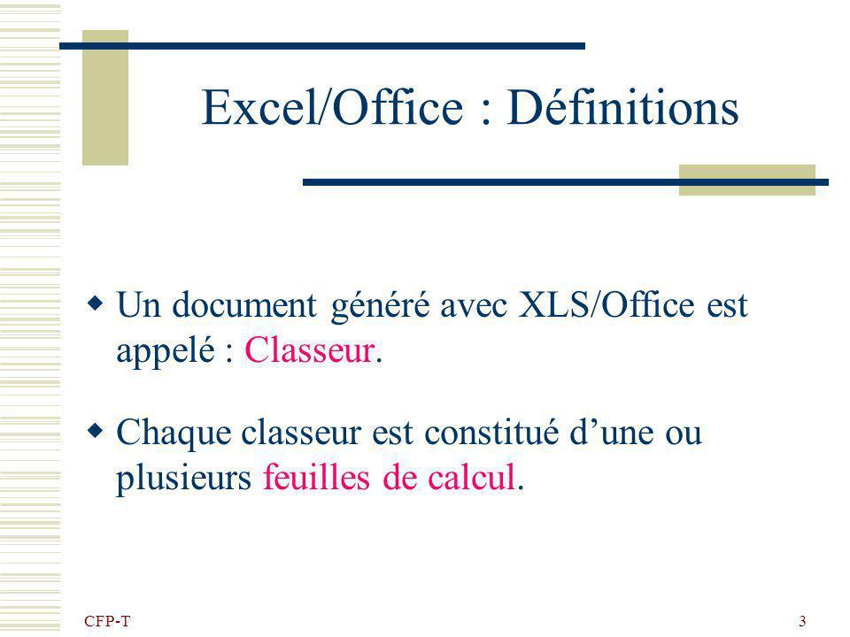 CFP-T 2 Le tableur Excel / Office Calc sont des tableurs Un tableur est un logiciel qui permet de créer des documents (classeur) qui contiennent des d