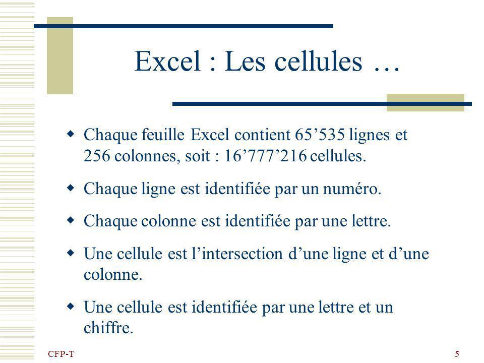CFP-T 5 Excel : Les cellules … Chaque feuille Excel contient 65535 lignes et 256 colonnes, soit : 16777216 cellules.