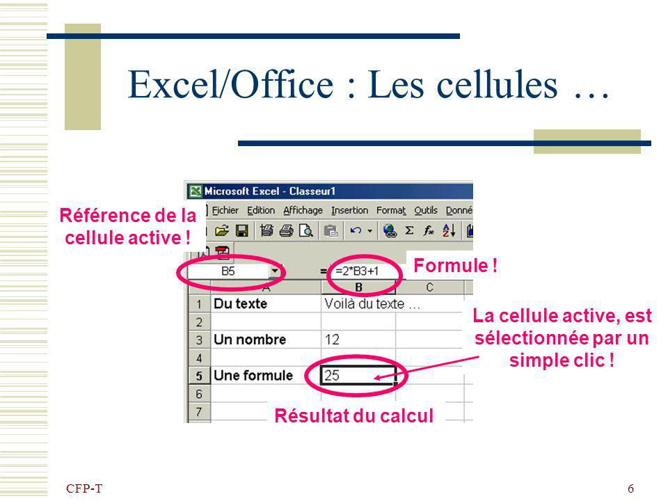 CFP-T 5 Excel : Les cellules … Chaque feuille Excel contient 65535 lignes et 256 colonnes, soit : 16777216 cellules. Chaque ligne est identifiée par u