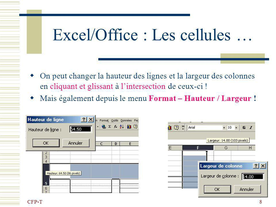 CFP-T 8 Excel/Office : Les cellules … On peut changer la hauteur des lignes et la largeur des colonnes en cliquant et glissant à lintersection de ceux-ci .