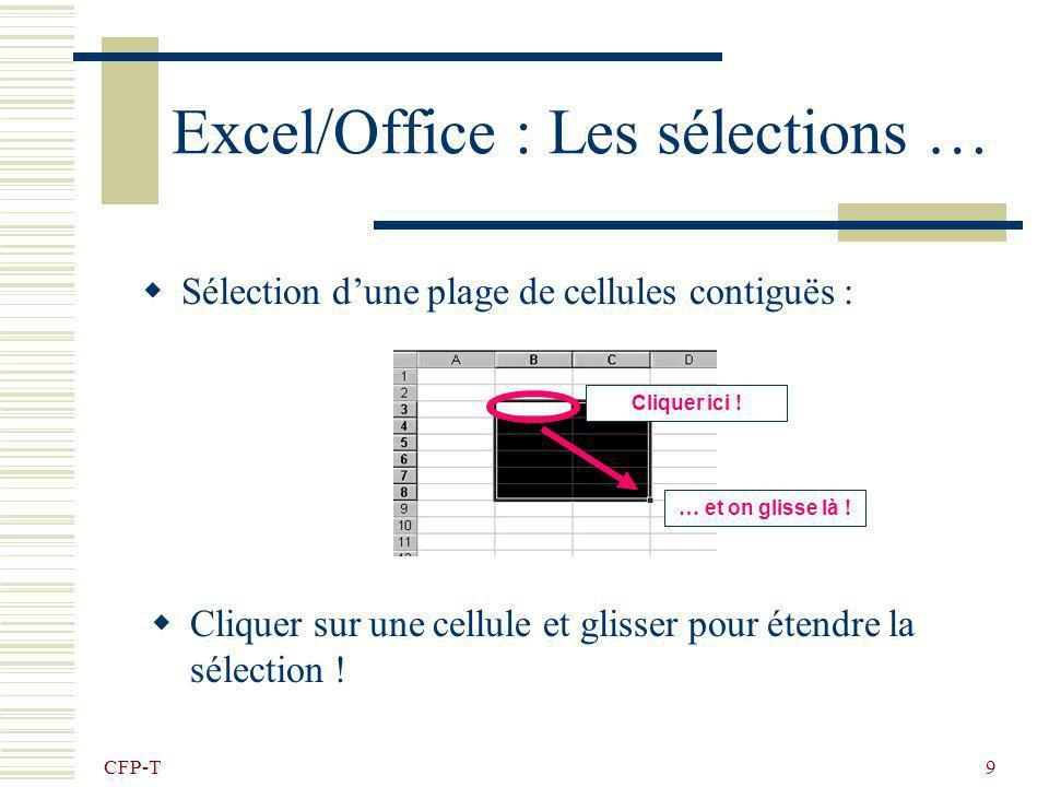 CFP-T 9 Excel/Office : Les sélections … Sélection dune plage de cellules contiguës : Cliquer sur une cellule et glisser pour étendre la sélection .