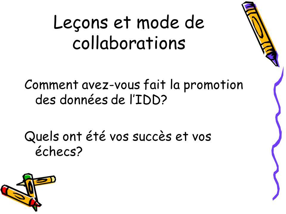 Leçons et mode de collaborations Comment avez-vous fait la promotion des données de lIDD.