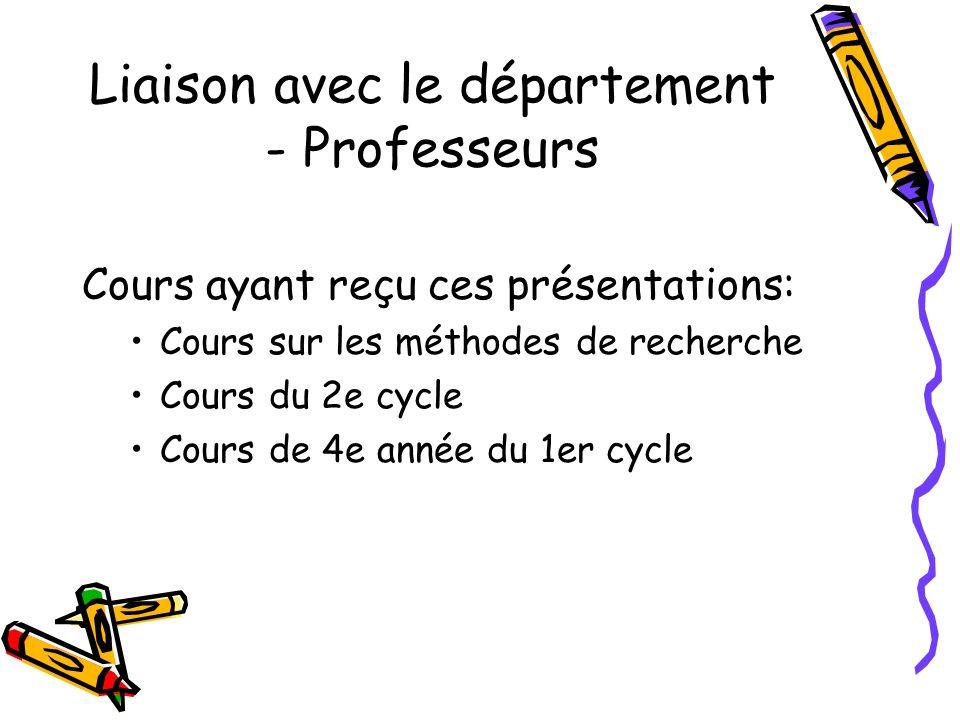 Liaison avec le département - Professeurs Cours ayant reçu ces présentations: Cours sur les méthodes de recherche Cours du 2e cycle Cours de 4e année du 1er cycle