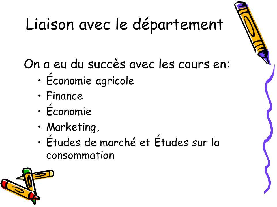 Liaison avec le département On a eu du succès avec les cours en: Économie agricole Finance Économie Marketing, Études de marché et Études sur la consommation