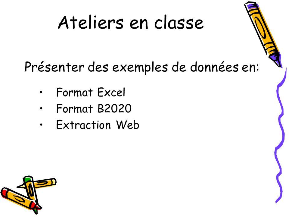 Ateliers en classe Présenter des exemples de données en: Format Excel Format B2020 Extraction Web