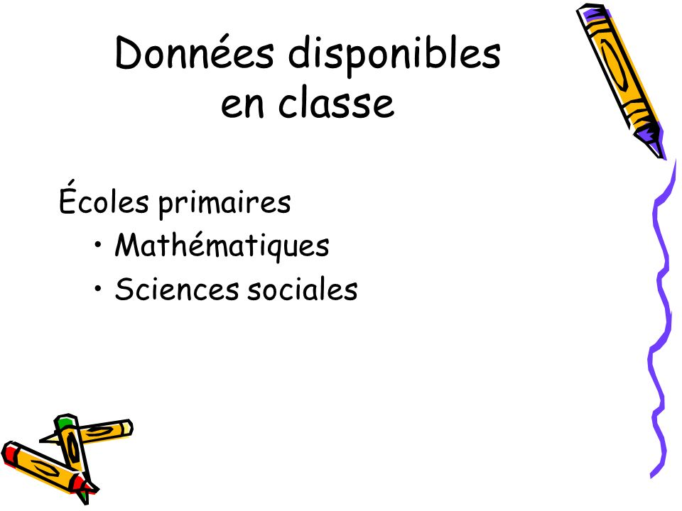 Données disponibles en classe Écoles primaires Mathématiques Sciences sociales
