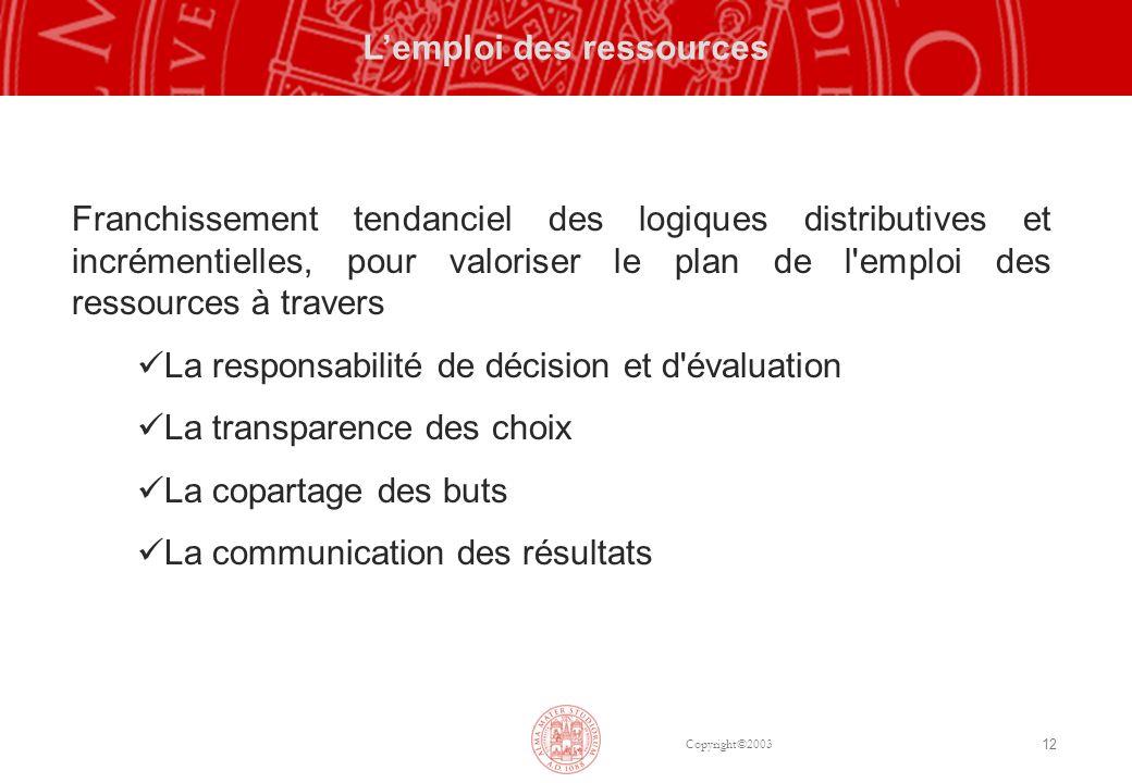 Copyright©2003 12 Lemploi des ressources Franchissement tendanciel des logiques distributives et incrémentielles, pour valoriser le plan de l'emploi d