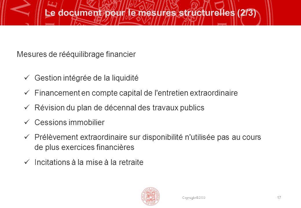 Copyright©2003 17 Le document pour le mesures structurelles (2/3) Mesures de rééquilibrage financier Gestion intégrée de la liquidité Financement en c
