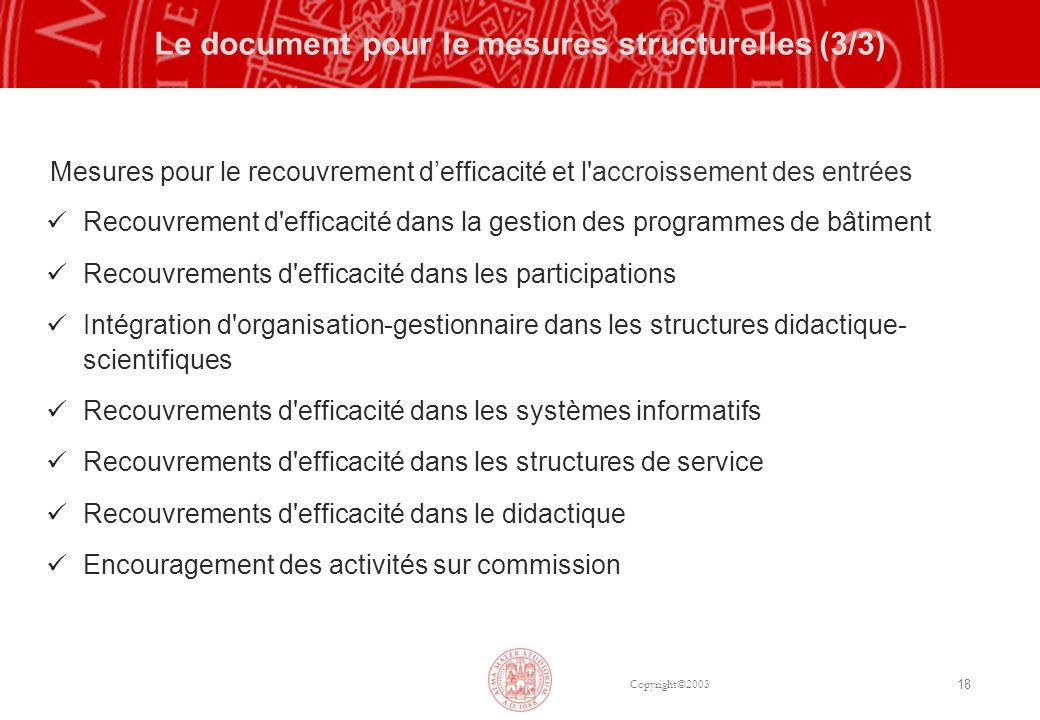 Copyright©2003 18 Le document pour le mesures structurelles (3/3) Mesures pour le recouvrement defficacité et l'accroissement des entrées Recouvrement