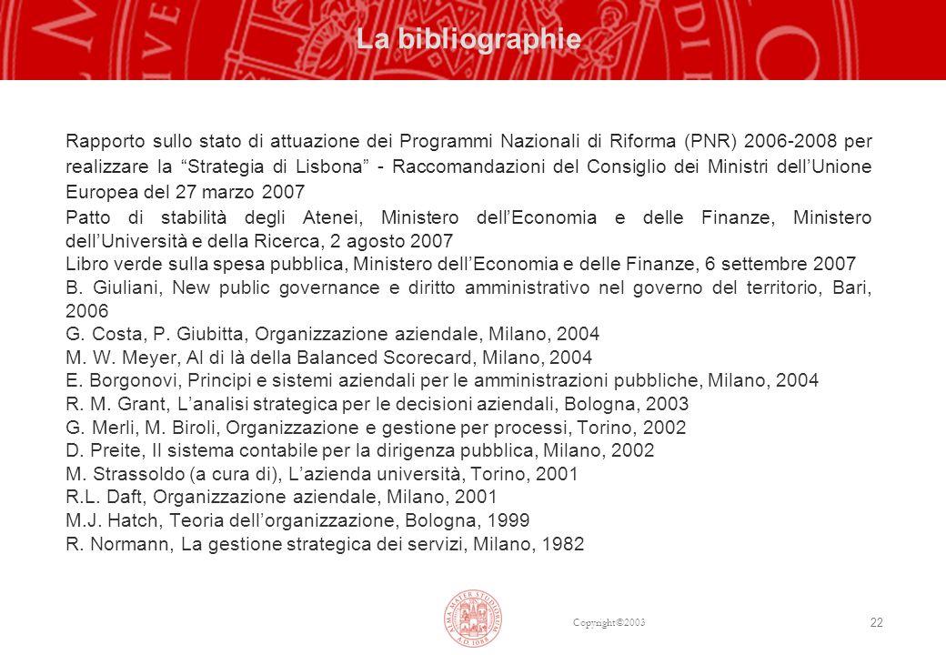 Copyright©2003 22 La bibliographie Rapporto sullo stato di attuazione dei Programmi Nazionali di Riforma (PNR) 2006-2008 per realizzare la Strategia d