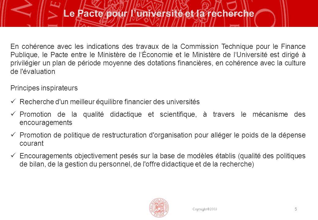 Copyright©2003 5 Le Pacte pour luniversité et la recherche En cohérence avec les indications des travaux de la Commission Technique pour le Finance Pu