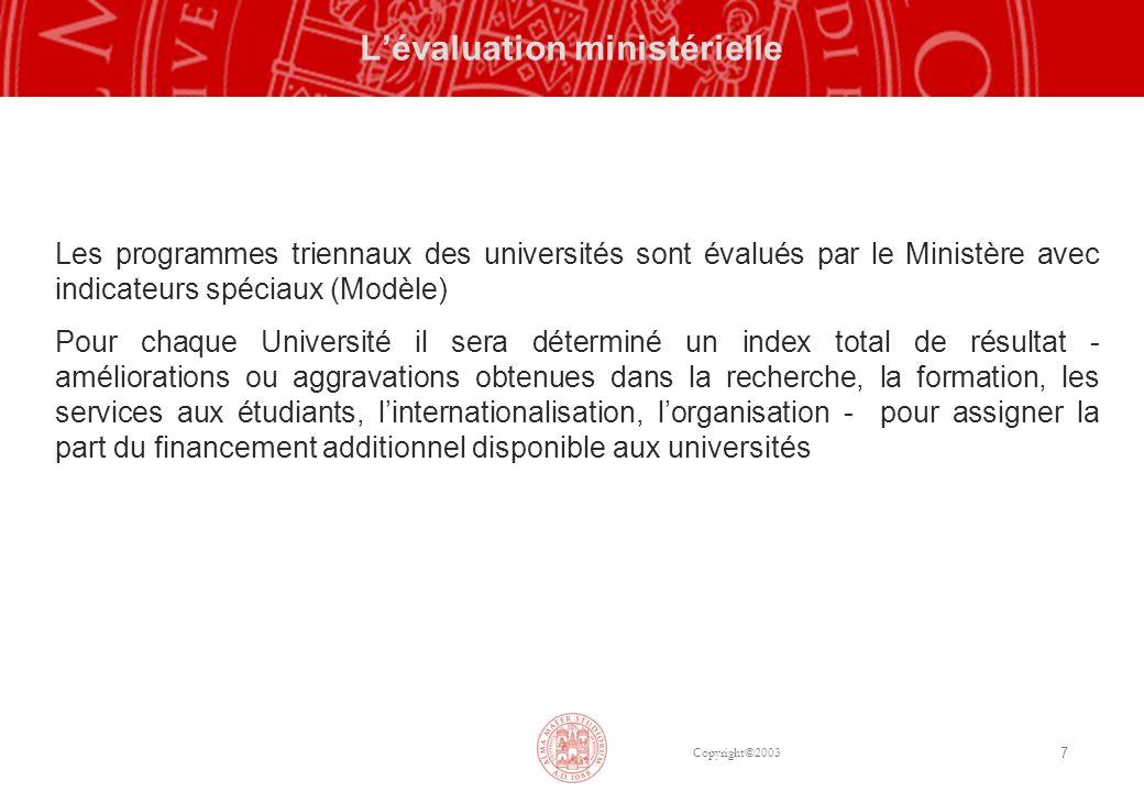 Copyright©2003 7 Lévaluation ministérielle Les programmes triennaux des universités sont évalués par le Ministère avec indicateurs spéciaux (Modèle) P