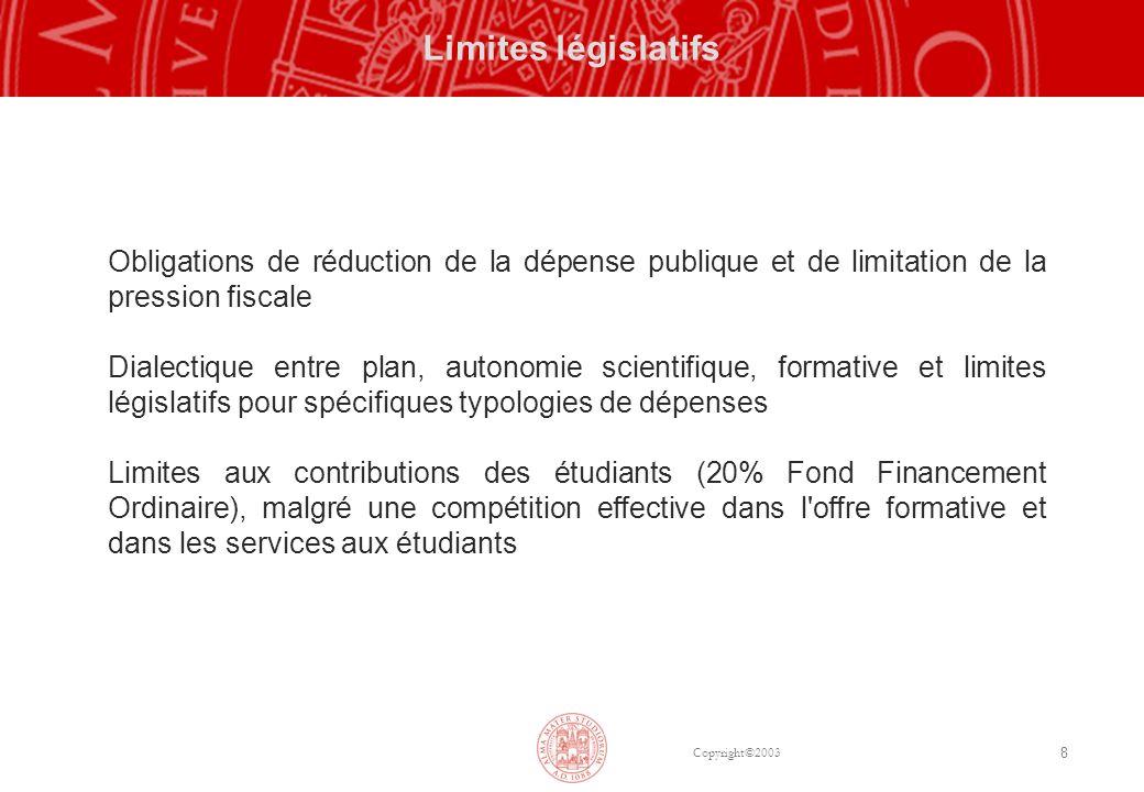 Copyright©2003 8 Limites législatifs Obligations de réduction de la dépense publique et de limitation de la pression fiscale Dialectique entre plan, a