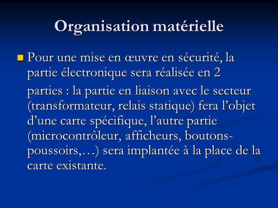 Organisation matérielle Pour une mise en œuvre en sécurité, la partie électronique sera réalisée en 2 Pour une mise en œuvre en sécurité, la partie él