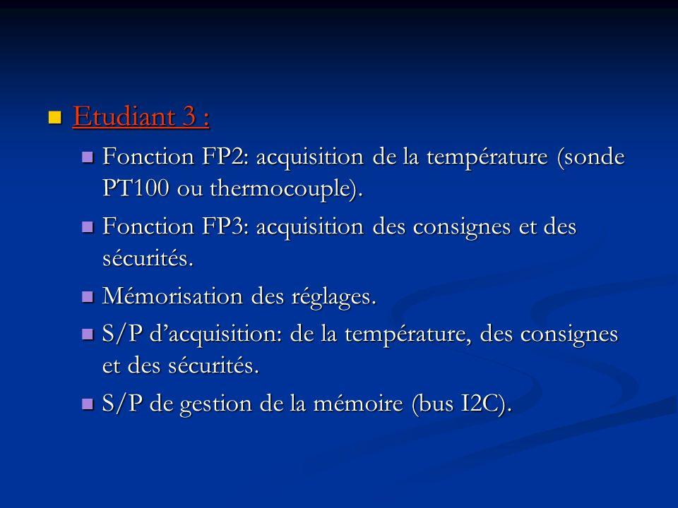 Etudiant 3 : Etudiant 3 : Fonction FP2: acquisition de la température (sonde PT100 ou thermocouple). Fonction FP2: acquisition de la température (sond