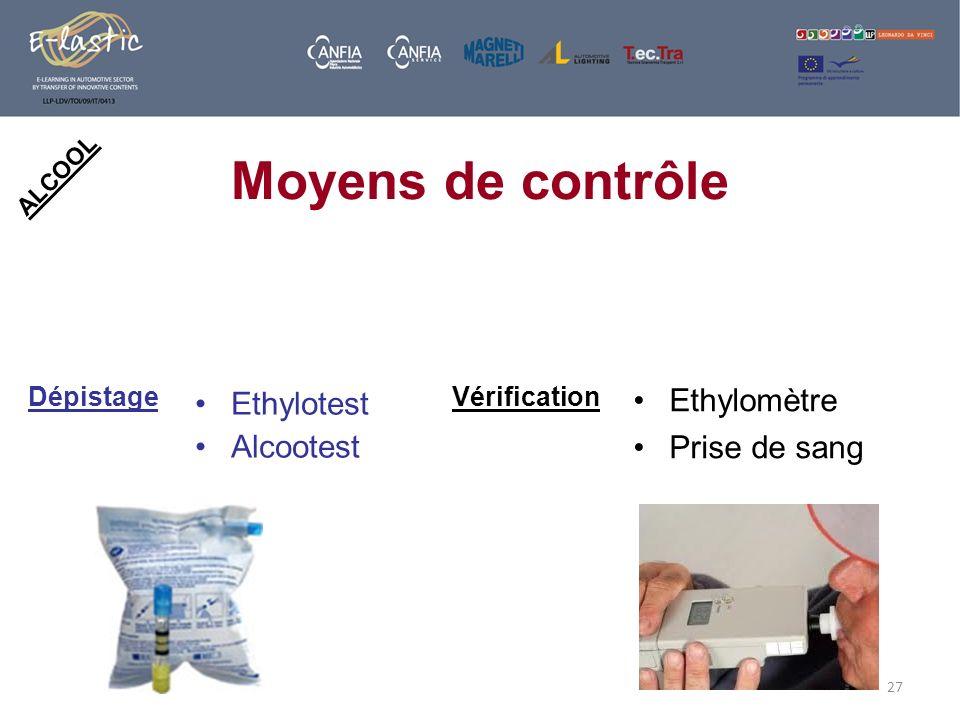 27 ALCOOL Moyens de contrôle Ethylotest Alcootest Ethylomètre Prise de sang DépistageVérification