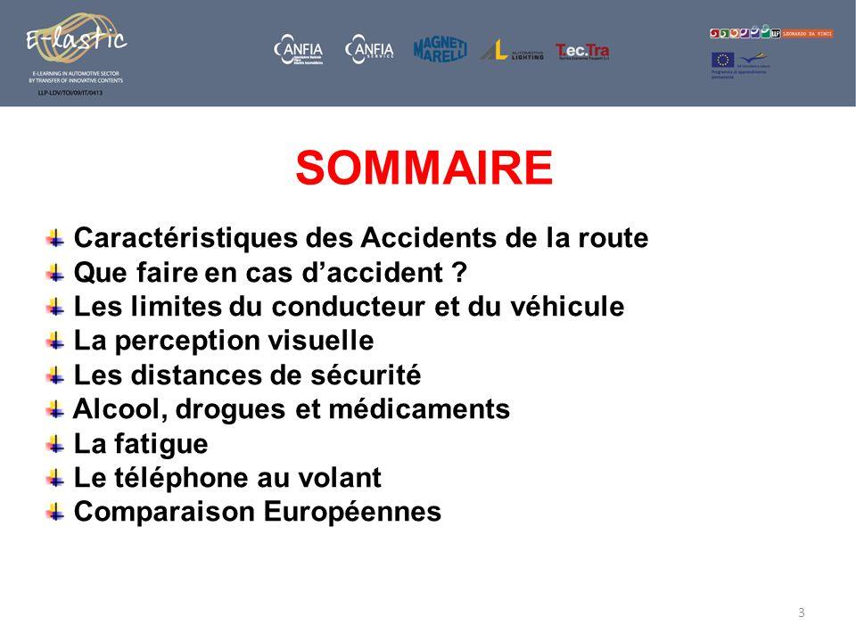 Caractéristiques des Accidents de la route Que faire en cas daccident ? Les limites du conducteur et du véhicule La perception visuelle Les distances