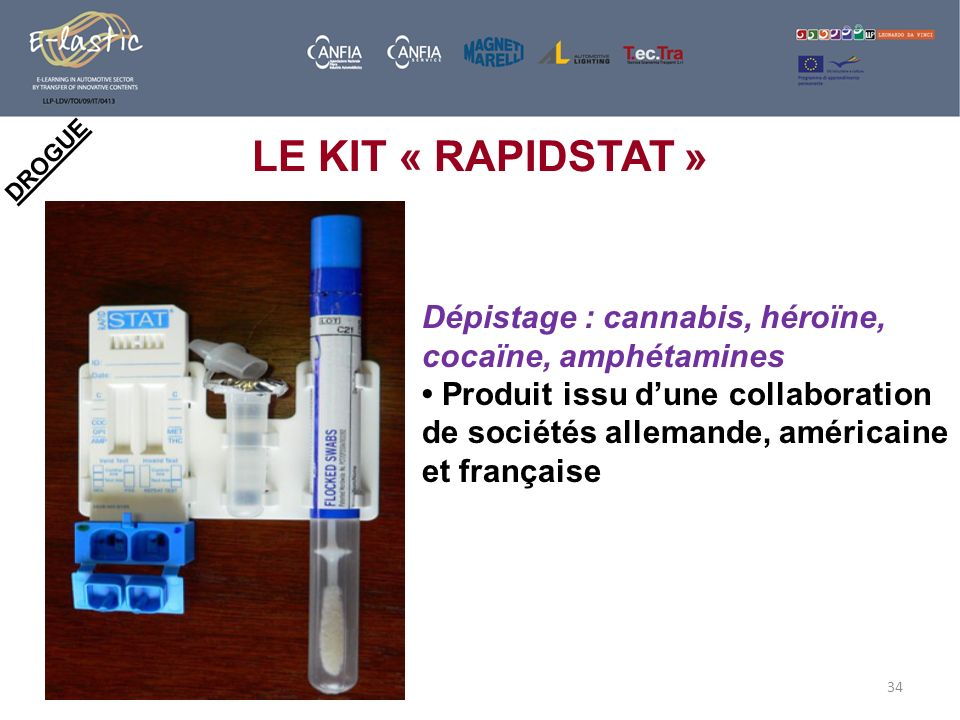 34 DROGUE LE KIT « RAPIDSTAT » Dépistage : cannabis, héroïne, cocaïne, amphétamines Produit issu dune collaboration de sociétés allemande, américaine