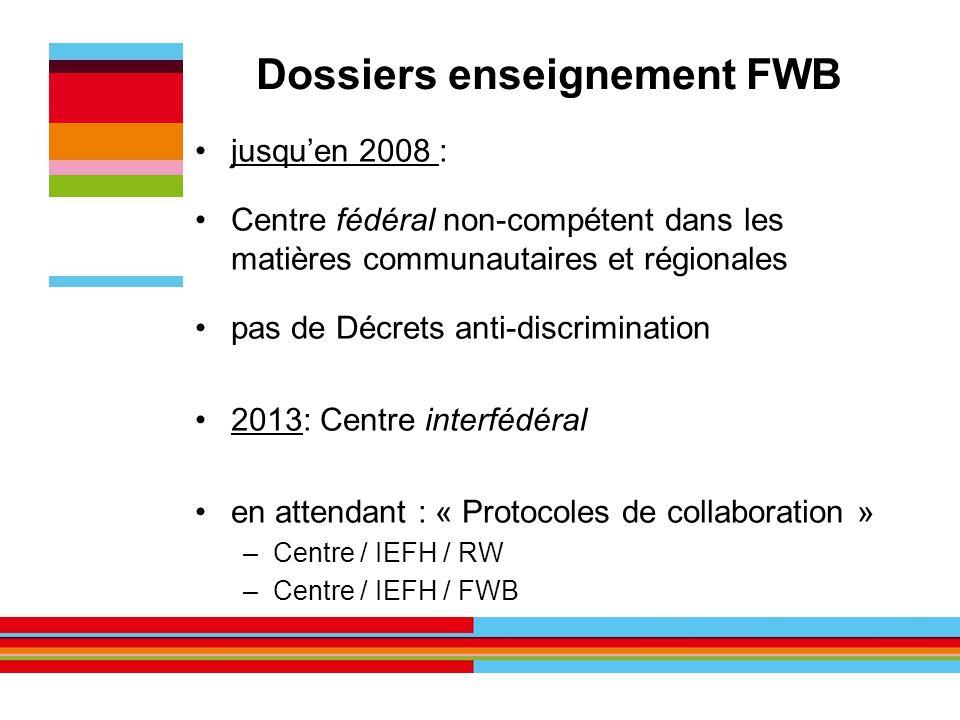 Dossiers enseignement FWB jusquen 2008 : Centre fédéral non-compétent dans les matières communautaires et régionales pas de Décrets anti-discriminatio