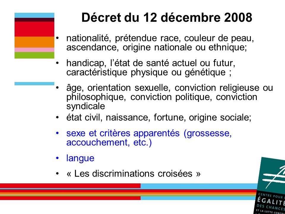 Décret du 12 décembre 2008 nationalité, prétendue race, couleur de peau, ascendance, origine nationale ou ethnique; handicap, létat de santé actuel ou