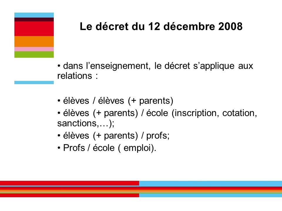 Le décret du 12 décembre 2008 dans lenseignement, le décret sapplique aux relations : élèves / élèves (+ parents) élèves (+ parents) / école (inscript