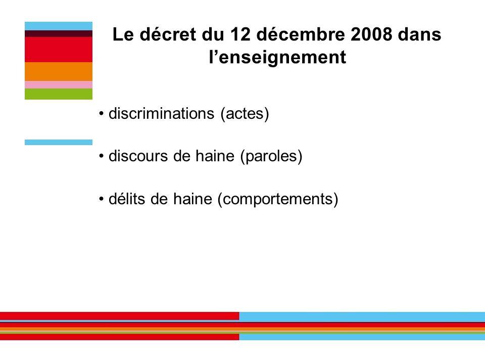 Le décret du 12 décembre 2008 dans lenseignement discriminations (actes) discours de haine (paroles) délits de haine (comportements)
