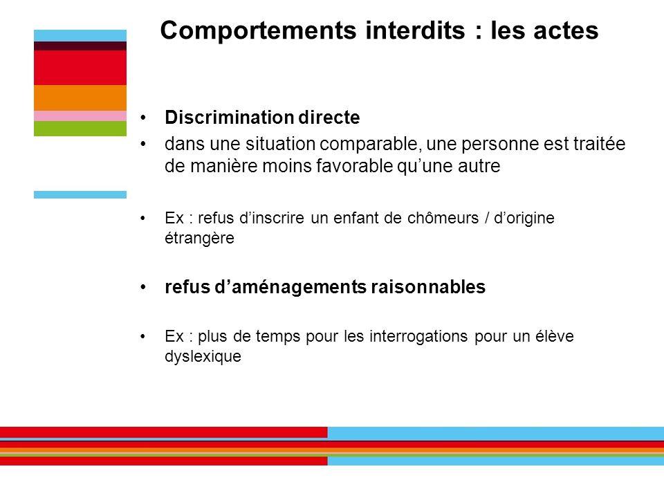 Comportements interdits : les actes Discrimination directe dans une situation comparable, une personne est traitée de manière moins favorable quune au
