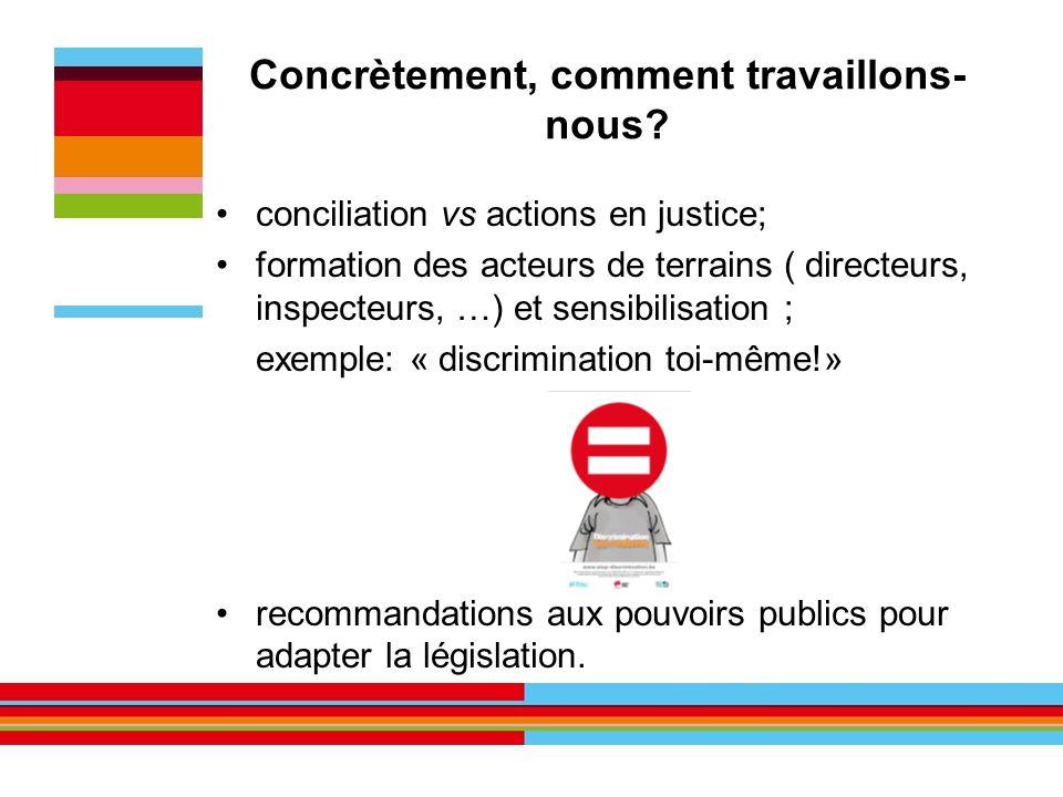Concrètement, comment travaillons- nous? conciliation vs actions en justice; formation des acteurs de terrains ( directeurs, inspecteurs, …) et sensib