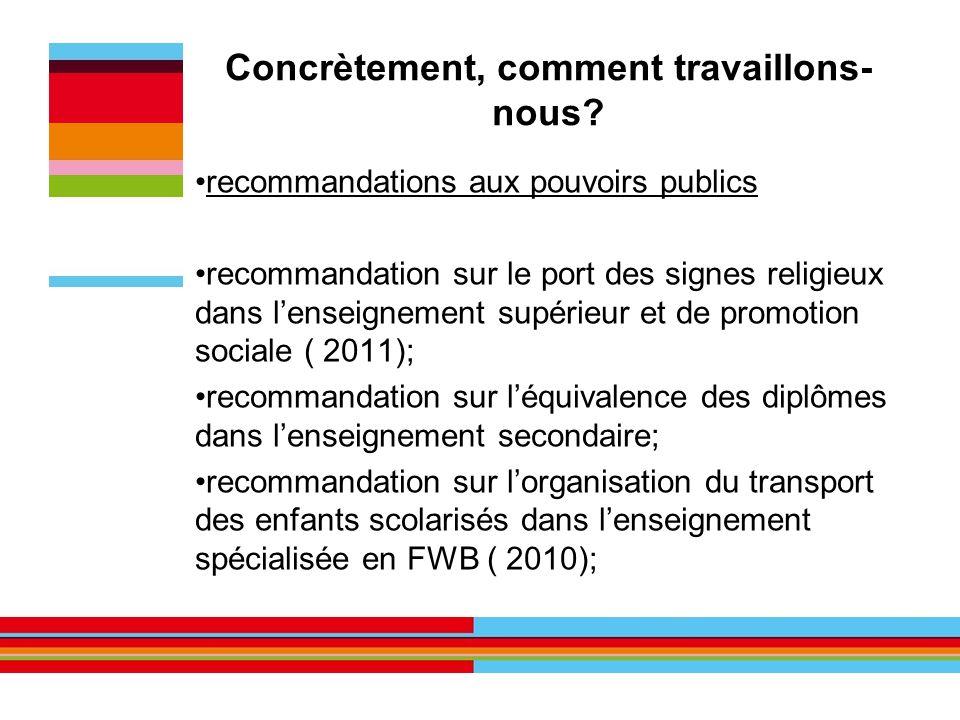 Concrètement, comment travaillons- nous? recommandations aux pouvoirs publics recommandation sur le port des signes religieux dans lenseignement supér