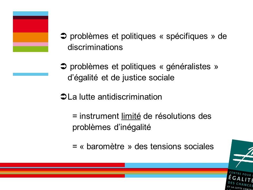 problèmes et politiques « spécifiques » de discriminations problèmes et politiques « généralistes » dégalité et de justice sociale La lutte antidiscri