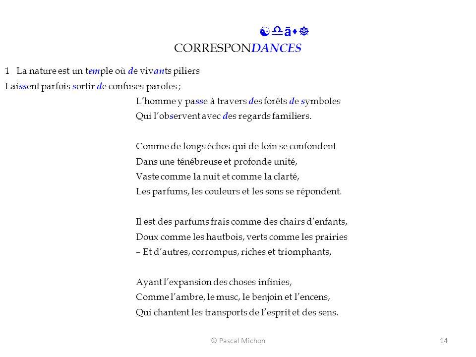 © Pascal Michon14 [dãs] CORRESPON DANCES 1 La nature est un t em ple où d e viv an ts piliers Lai ss ent parfois s ortir d e confuses paroles ; Lhomme