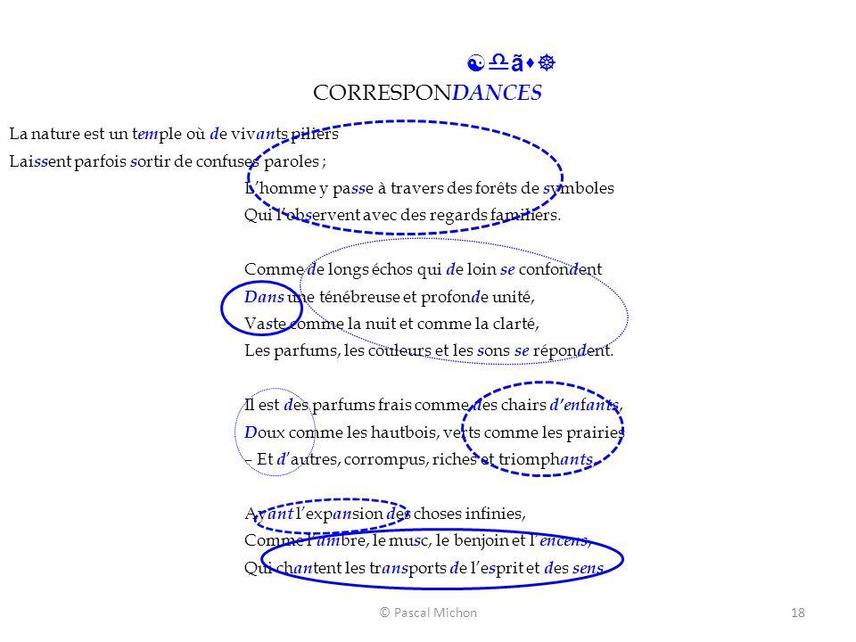 © Pascal Michon18 [dãs] CORRESPON DANCES La nature est un t em ple où d e viv an ts piliers Lai ss ent parfois s ortir de confuses paroles ; Lhomme y