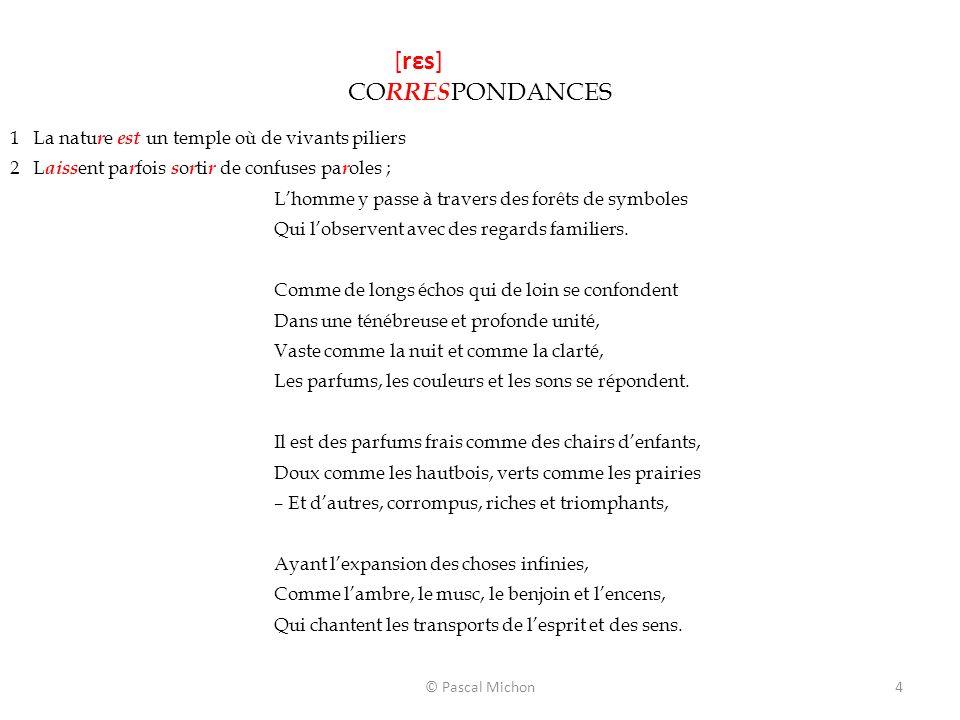 © Pascal Michon4 [rεs] CO RRES PONDANCES 1 La natu r e est un temple où de vivants piliers 2 L aiss ent pa r fois s o r ti r de confuses pa r oles ; L