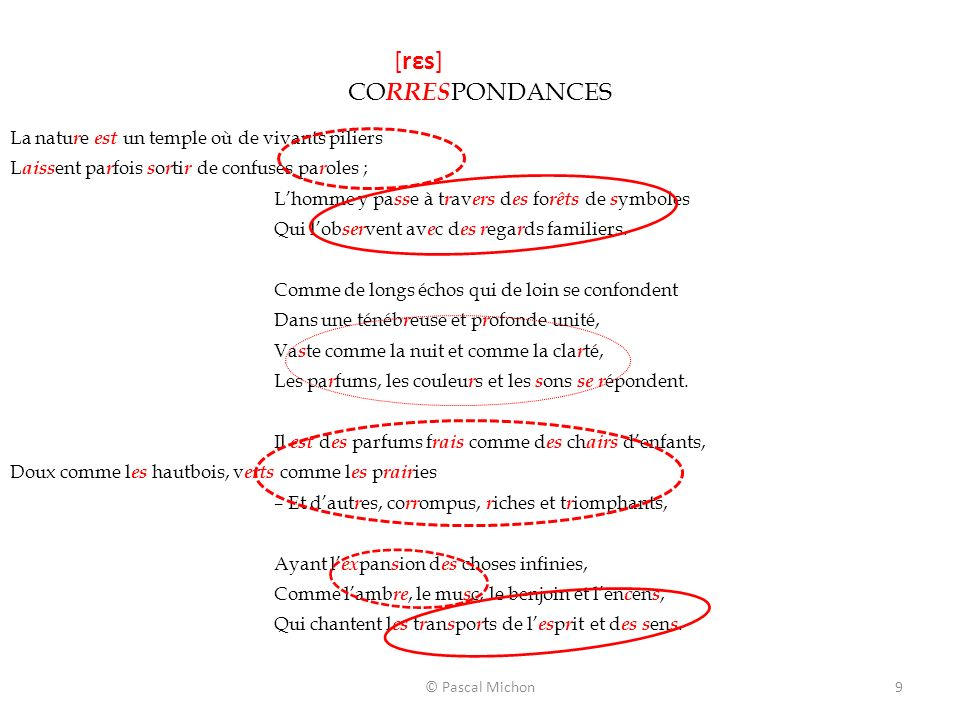 © Pascal Michon9 [rεs] CO RRES PONDANCES La natu r e est un temple où de vivants piliers L aiss ent pa r fois s o r ti r de confuses pa r oles ; Lhomm