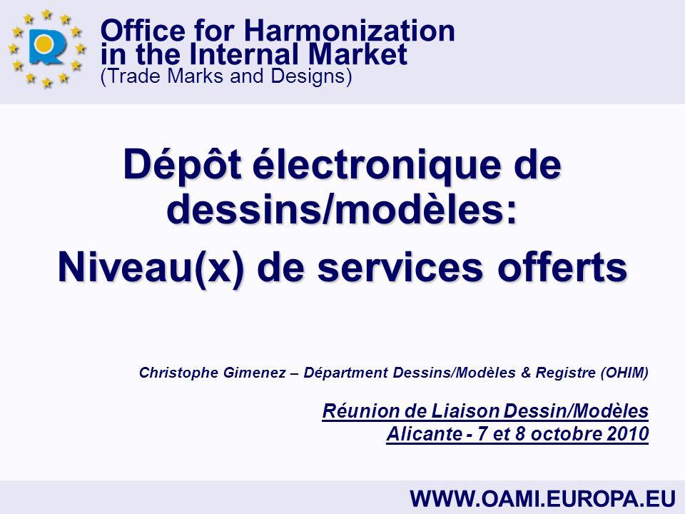 Office for Harmonization in the Internal Market (Trade Marks and Designs) 1.Avantages procéduraux généraux 1.Avantages techniques 1.Avantages substantiels Nouveau Dépôt électronique RCD e-Filing Avantages