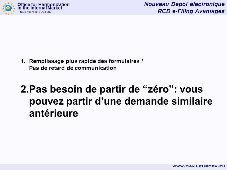 Office for Harmonization in the Internal Market (Trade Marks and Designs) Vous pouvez partir dune demande antérieure existante Vous pouvez même récupérer la demande antérieure existante de la base de données RCD On- Line.