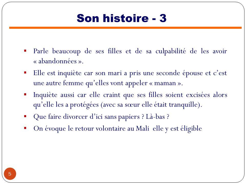Son histoire - 4 Avec son accord, on étudie, via nos liens à Bamako les possibilités de divorce et dinstallation.