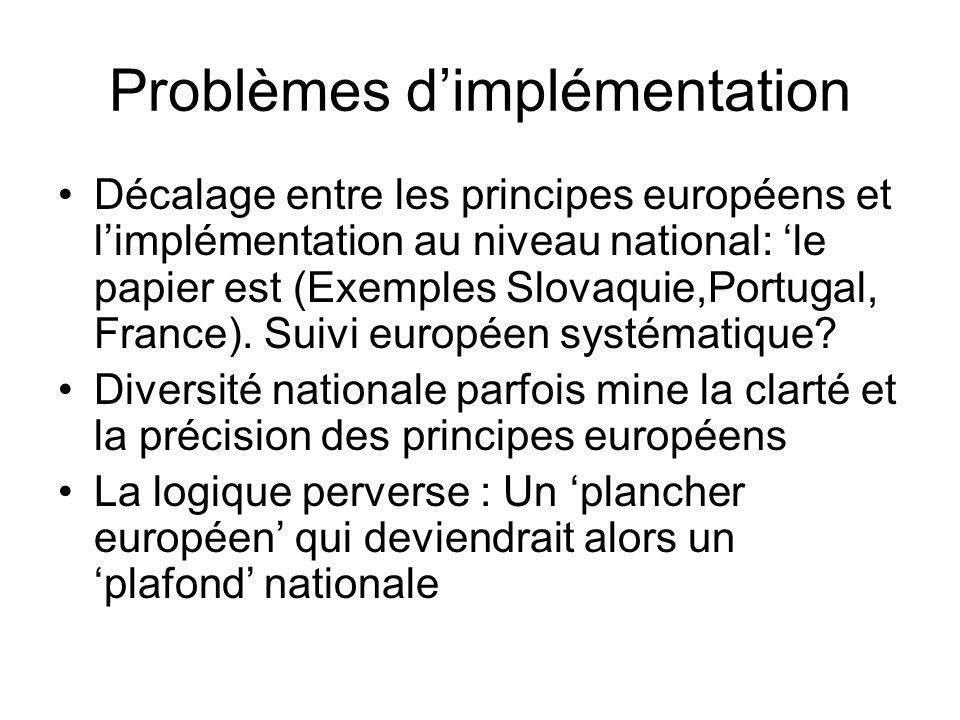Problèmes dimplémentation Décalage entre les principes européens et limplémentation au niveau national: le papier est (Exemples Slovaquie,Portugal, France).
