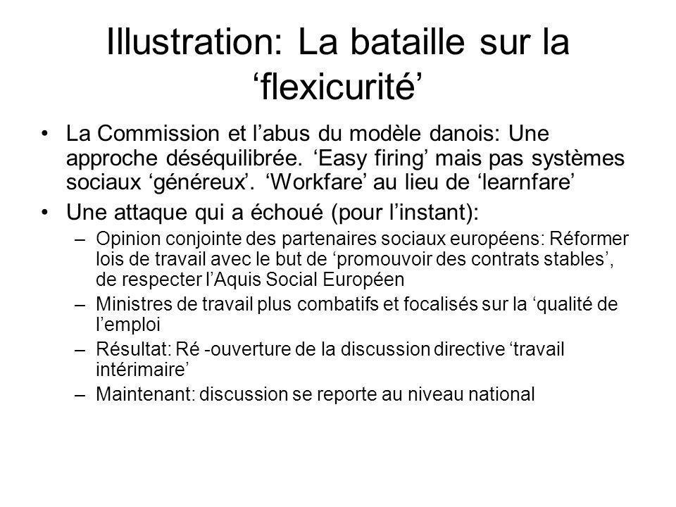 Illustration: La bataille sur la flexicurité La Commission et labus du modèle danois: Une approche déséquilibrée.